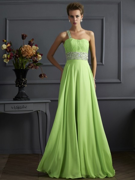 A-Line/Princess Beading One-Shoulder Chiffon Long Dress