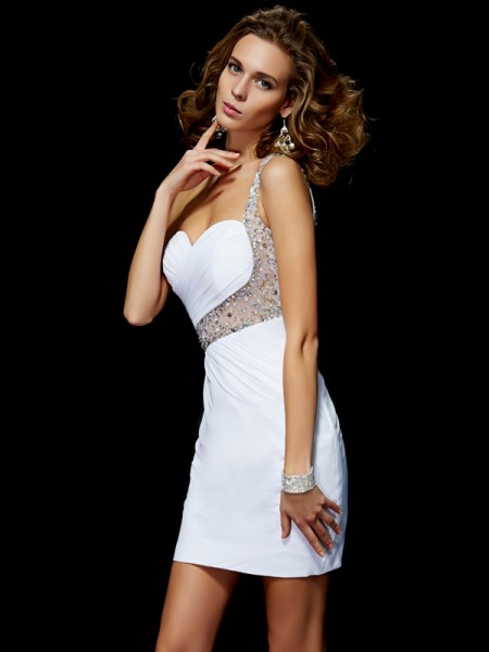 A-Line/Princess One-Shoulder Sequin Short Chiffon Homecoming Dress