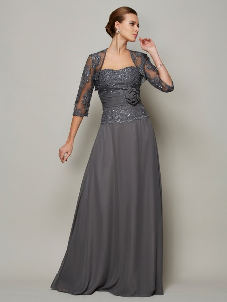 A-Line/Princess Applique Sweetheart Mother of the Bride Dress with Long Chiffon