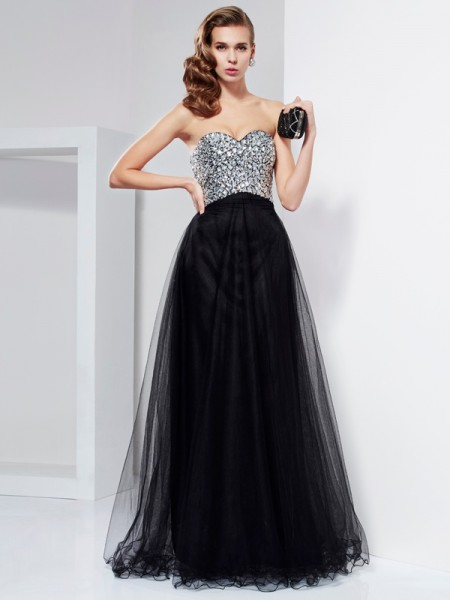 A-Line/Princess Sweetheart Beading Crystal Long Elastic Woven Satin Dress
