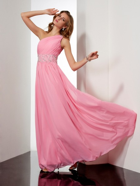 A-Line/Princess One-Shoulder Beading Dress with Long Chiffon
