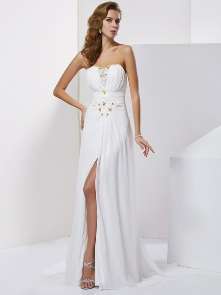 A-Line/Princess Sweetheart Applique Beading Dress with Long Chiffon