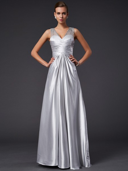 A-Line/Princess V-neck Beading Long Elastic Woven Satin Dress