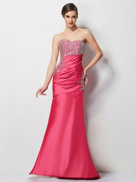 Trumpet/Mermaid Sweetheart Beading Long Taffeta Dress