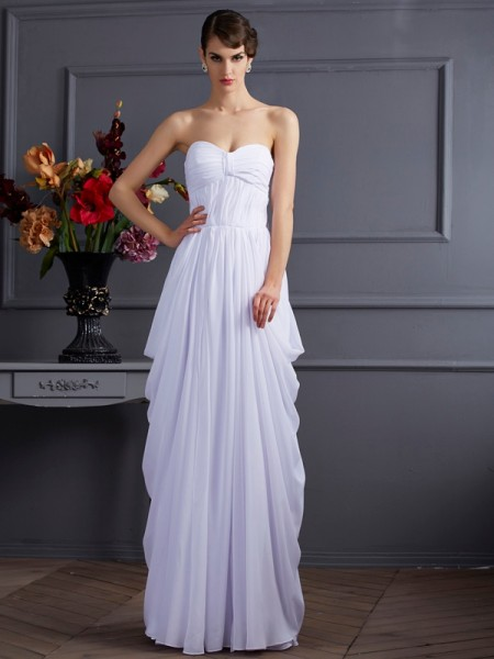 Sheath/Column Sweetheart Pleats Dress with Long Chiffon