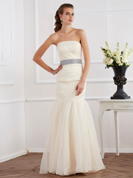 Trumpet/Mermaid Strapless Sash/Ribbon/Belt Long Organza Dress