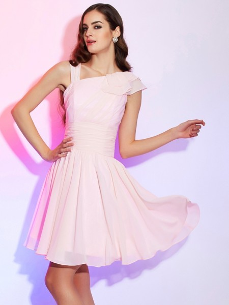 A-Line/Princess Pleats Short Chiffon Homecoming Dress