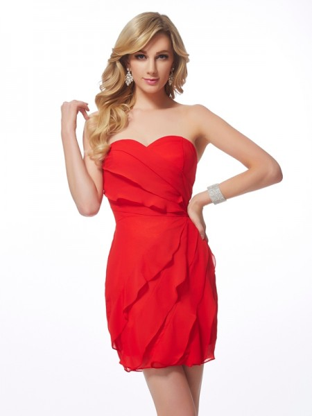 Sheath/Column Sweetheart Ruffles Short Chiffon Homecoming Dress