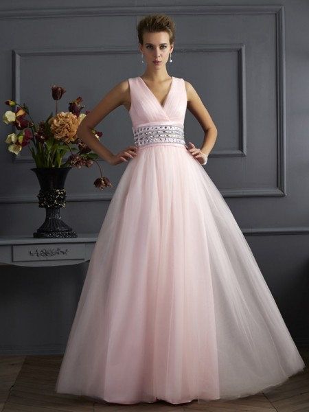 Ball Gown V-neck Beading Long Net Dress