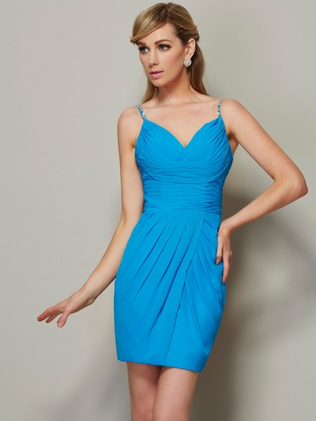 Sheath/Column Spaghetti Straps Beading Short Chiffon Homecoming Dress