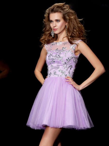 A-Line/Princess Bateau Short Sleeves Beading Short Satin Homecoming Dress