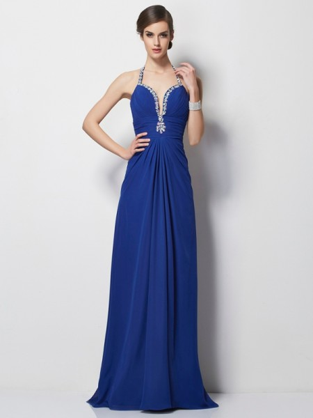 A-Line/Princess Halter Beading Dress with Long Chiffon