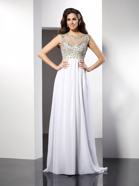 A-Line/Princess Bateau Ruffles Dress with Long Chiffon