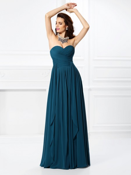 A-Line/Princess Sweetheart Pleats Ruffles Bridesmaid Dress with Long Chiffon