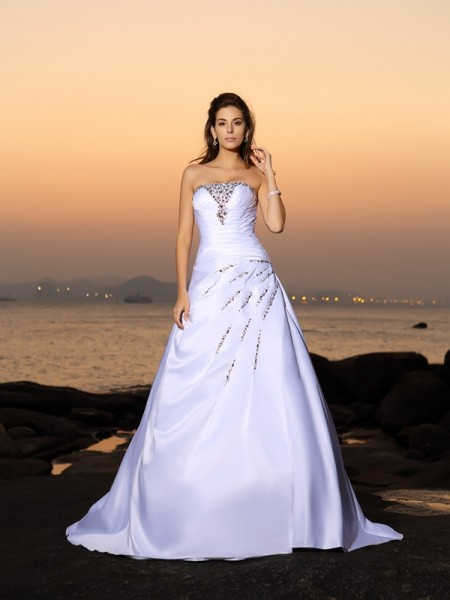 A-Line/Princess Strapless Beading Long Satin Beach Wedding Dress