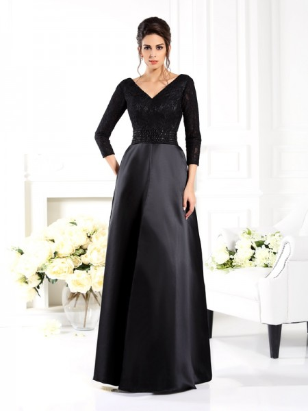 A-Line/Princess V-neck Beading Long Satin Mother of the Bride Dress