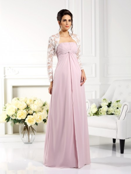 A-Line/Princess Strapless Lace Mother of the Bride Dress with Long Chiffon