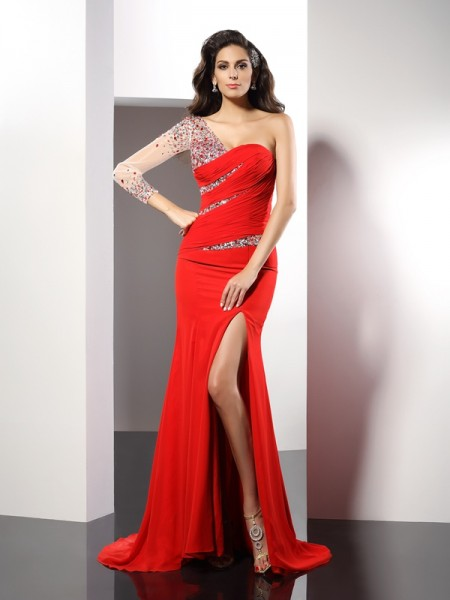 Sheath/Column One-Shoulder Beading Dress with Long Chiffon