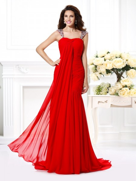 Trumpet/Mermaid Straps Beading Dress with Long Chiffon