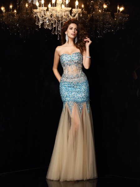 Sheath/Column Sweetheart Beading Long Net Dress