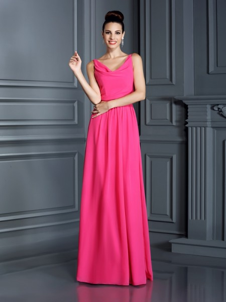 A-Line/Princess Spaghetti Straps Bridesmaid Dress with Long Chiffon