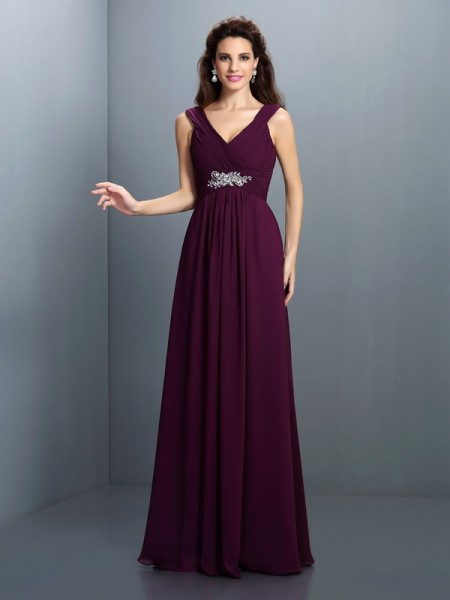 A-Line/Princess V-neck Beading Pleats Bridesmaid Dress with Long Chiffon