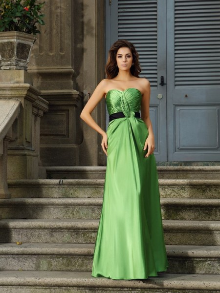 A-Line/Princess Sweetheart Long Silk like Satin Bridesmaid Dress
