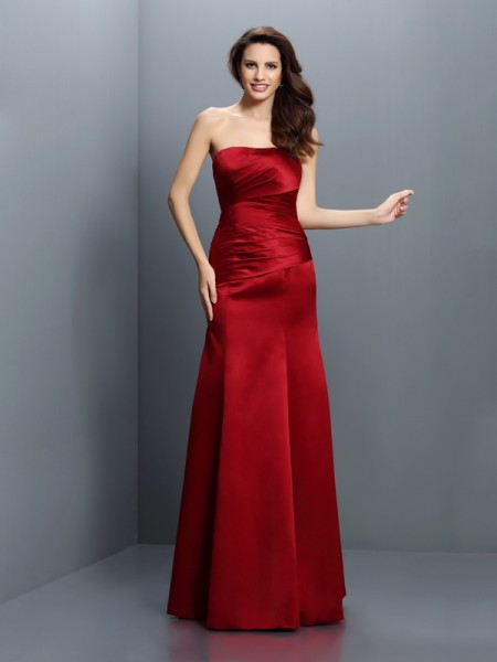 Sheath/Column Strapless Pleats Long Satin Bridesmaid Dress