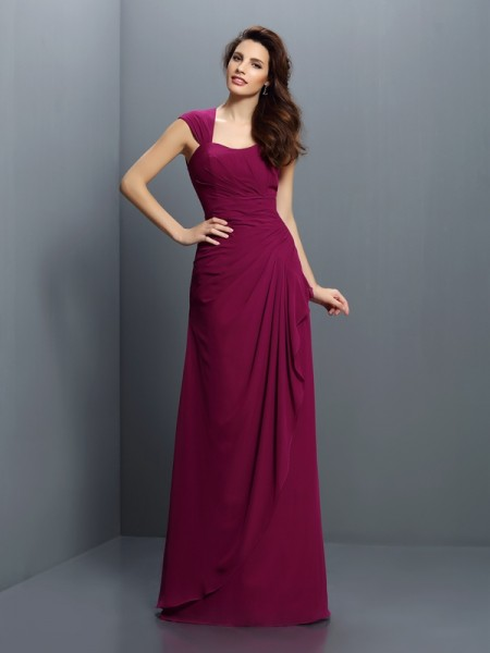 A-Line/Princess Straps Pleats Bridesmaid Dress with Long Chiffon