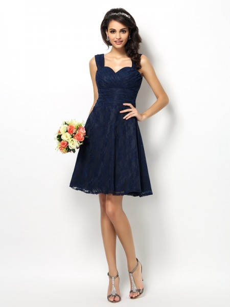 A-Line/Princess Straps Lace Short Satin Bridesmaid Dress