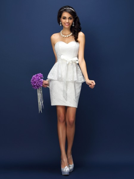 Sheath/Column Sweetheart Lace Short Satin Bridesmaid Dress