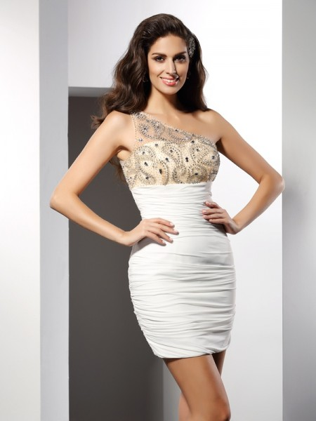 Sheath/Column One-Shoulder Beading Short Chiffon Cocktail Dress