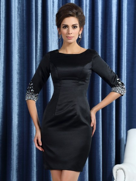 Sheath/Column Square Beading 1/2 Sleeves Short Satin Mother of the Bride Dress