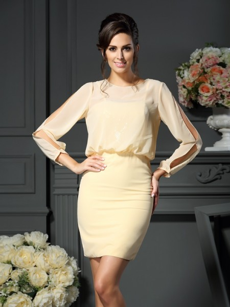 Sheath/Column Scoop Long Sleeves Short Chiffon Mother of the Bride Dress