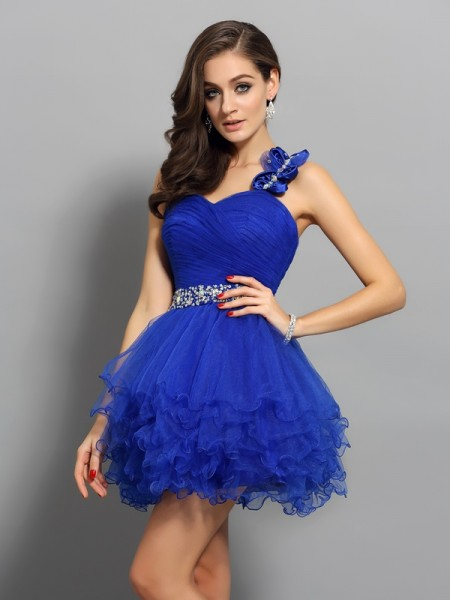 A-Line/Princess One-Shoulder Beading Short Organza Cocktail Dress