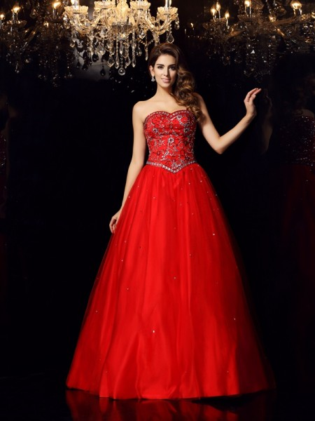 Ball Gown Sweetheart Beading Long Satin Quinceanera Dress