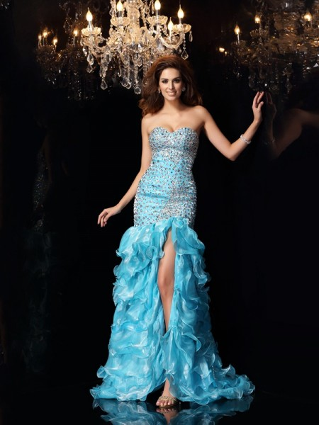 Trumpet/Mermaid Sweetheart Beading High Low Organza Dress