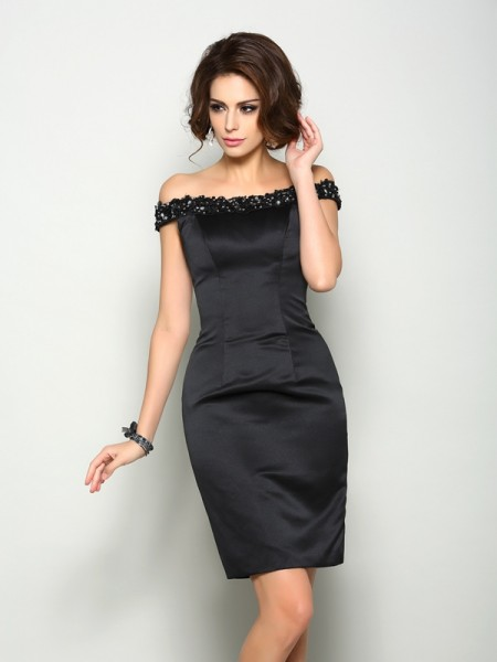 Sheath/Column Beading Short Satin Mother of the Bride Dress