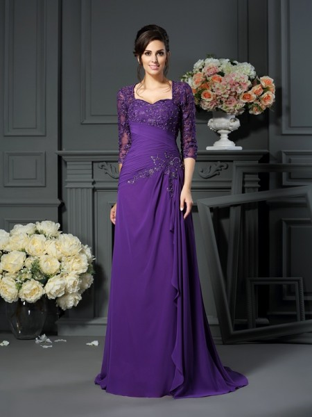 A-Line/Princess Sweetheart Applique 1/2 Sleeves Mother of the Bride Dress with Long Chiffon