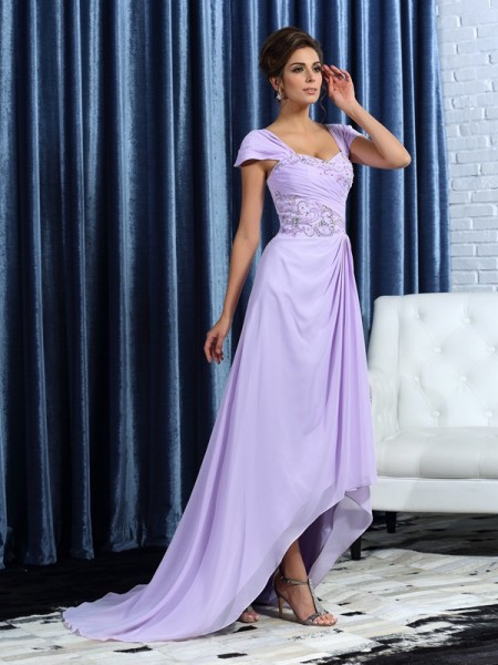 A-Line/Princess Straps Beading High Low Chiffon Mother of the Bride Dress