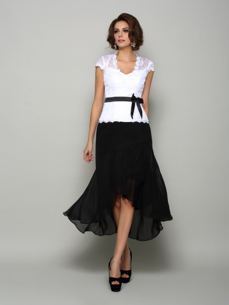 A-Line/Princess V-neck Sash/Ribbon/Belt High Low Chiffon Mother of the Bride Dress