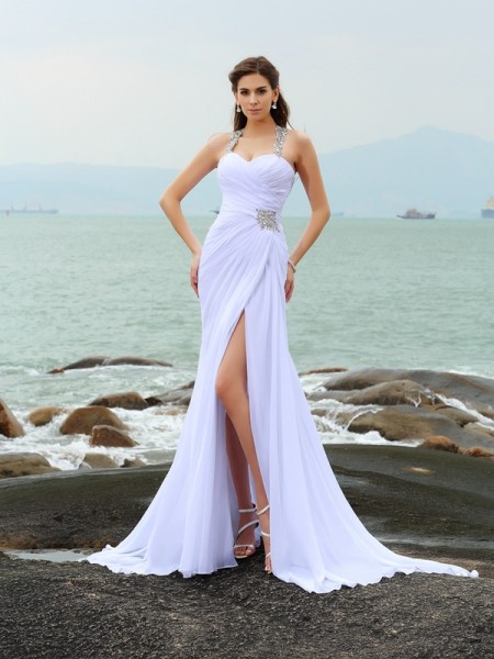 Sheath/Column Straps Beading Beach Wedding Dress with Long Chiffon