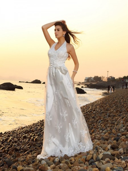 A-Line/Princess Halter Sash/Ribbon/Belt Long Lace Beach Wedding Dress