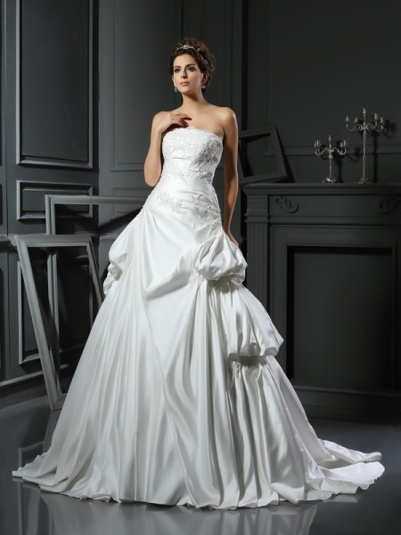Ball Gown Strapless Applique Long Satin Wedding Dress