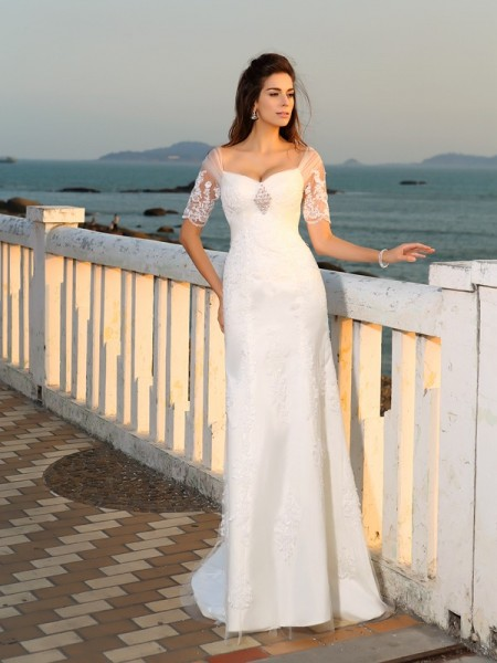 Sheath/Column Sweetheart Applique Short Sleeves Long Satin Beach Wedding Dress