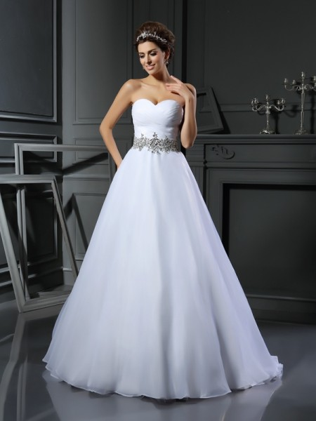 Ball Gown Sweetheart Beading Long Satin Wedding Dress