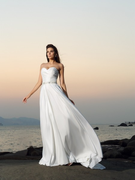 A-Line/Princess Sweetheart Beading Long Taffeta Beach Wedding Dress