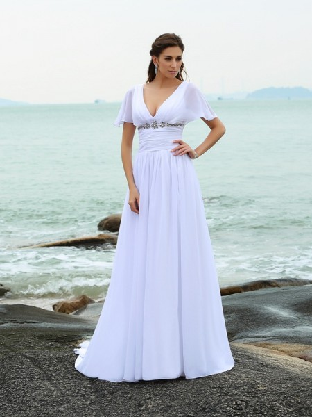 A-Line V-neck Short Sleeves Sweep/Brush Train Chiffon Ruffles Bridal Gown