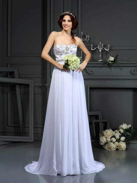 A-Line/Princess Sweetheart Beading Wedding Dress with Long Chiffon