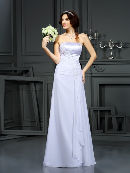 Sheath/Column Strapless Beading Wedding Dress with Long Chiffon